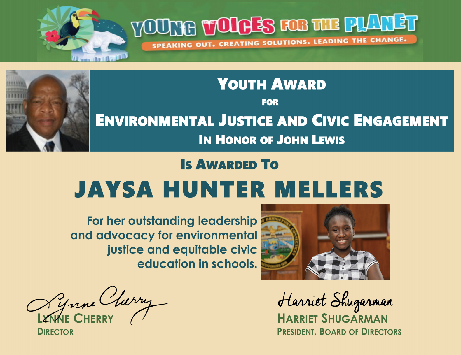 15 year old YVFP Youth Ambassador Jaysa Hunter-Mellers receives award for Environmental Justice and Civic Engagement in Honor of Rep. John Lewis