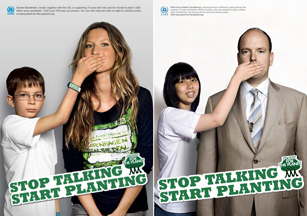 """UN Partner, Plant for the Planet, """"Stop Talking, Start Planting"""" Campaign"""