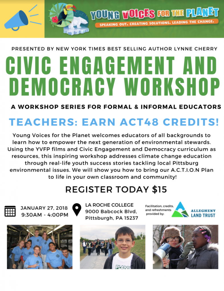 Flyer for YVFP Civic Engagement & Democracy Educator Workshop - La Roche College, PA