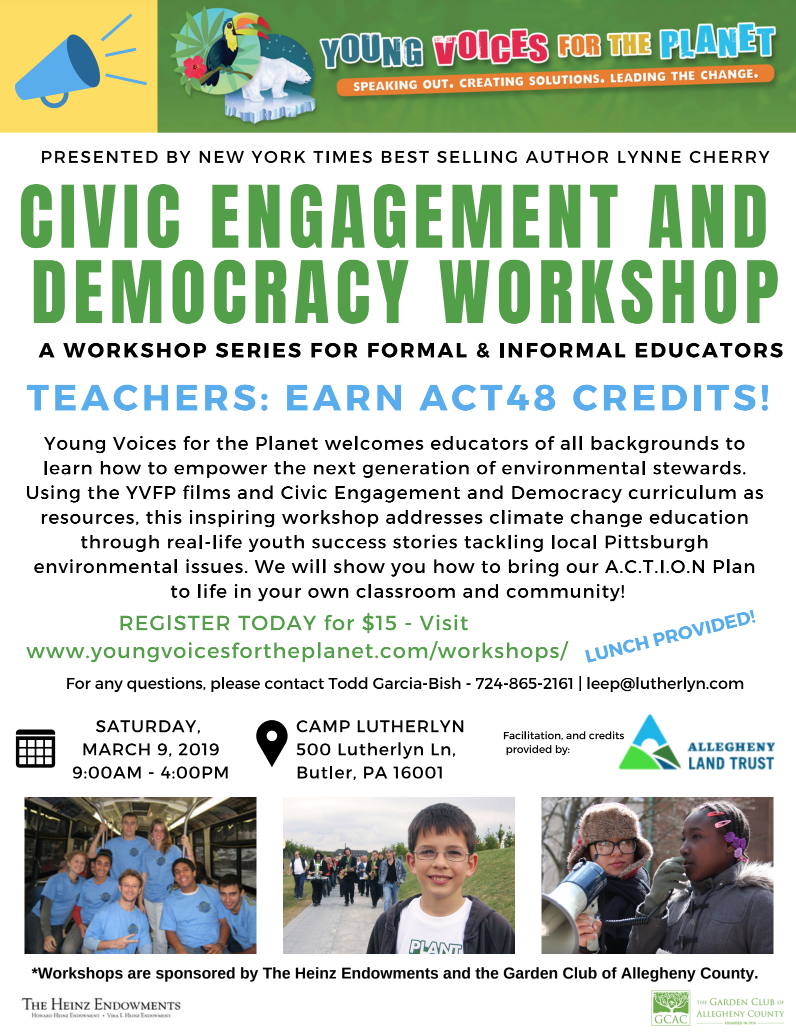 Flyer for YVFP Civic Engagement & Democracy Educator Workshop at Camp Lutherlyn, PA