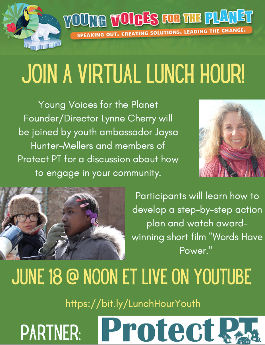 Flyer for Protect PT - Virtual Lunch Hour with YVFP - Youth Taking Civic A.C.T.I.O.N